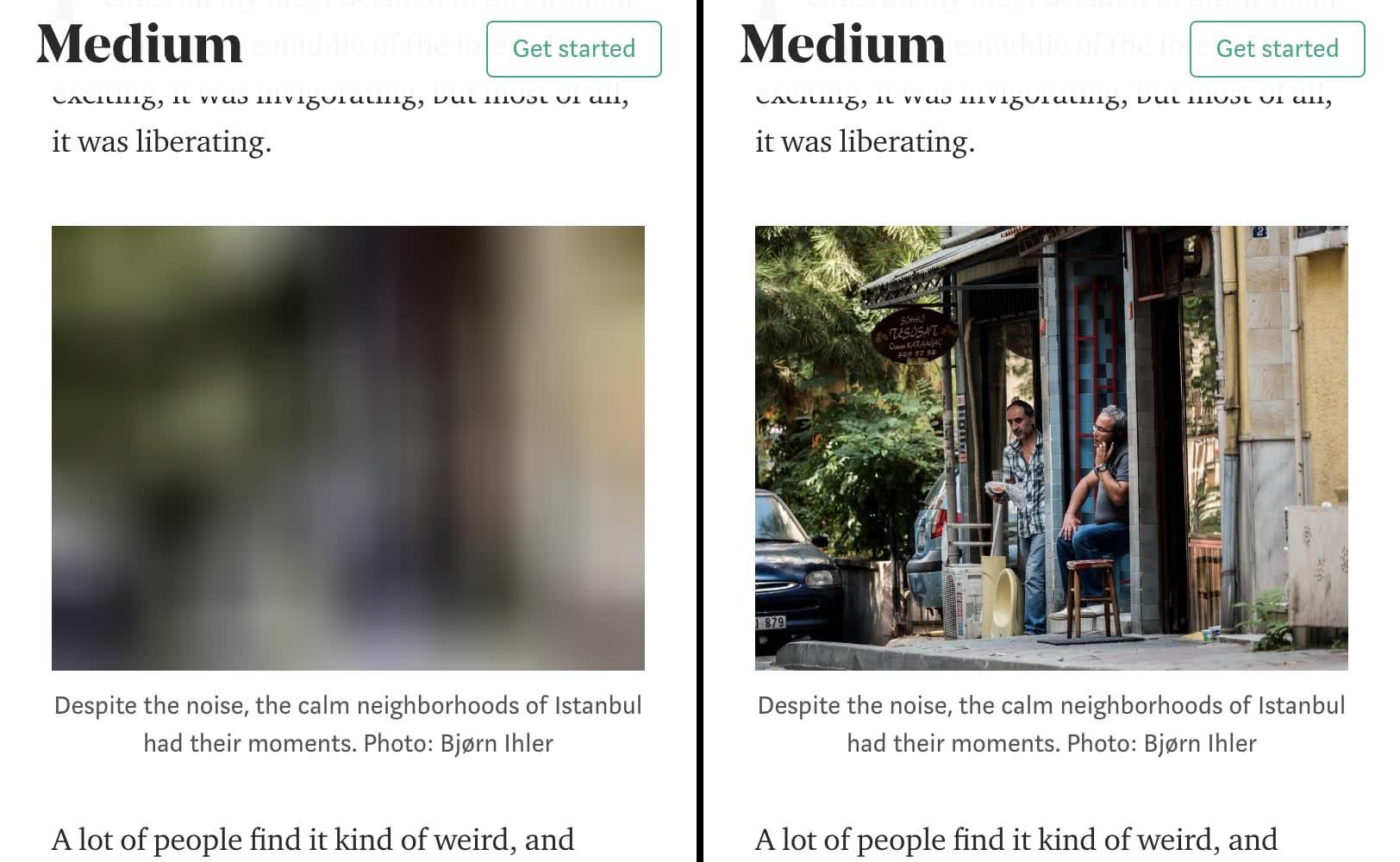 网站媒体的截图在浏览中,演示了惰性加载的行动。左边是模糊的占位符,右边是加载的资源。