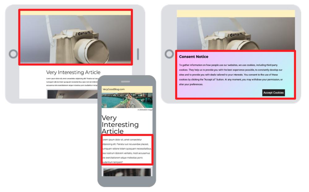 在不同的场景中突出显示页面的LCP元素的图表。